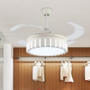 4-Blade Drum Metal Hanging Fan Lamp Modernism Living Room LED Semi Flush Mount Light in White with Acrylic Shade, 42