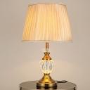 Barrel Fabric Desk Light Modernism 1 Head Beige Night Table Lamp for Living Room