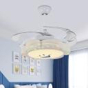 White Sun Flower Semi Flush Lamp Kids Acrylic Wall/Remote Control 42