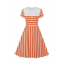 Basic Fancy Girls Short Sleeve Crew Neck Button Front Stripe Printed Long A-Line Dress