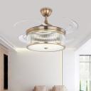 Drum Acrylic Ceiling Fan Light Modern Bedroom 8 Blades LED Semi Flush Lamp in Brass, 48