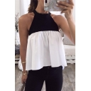 Women's Fashionable Sleeveless Crew Neck Patchwork Colorblock Pleated Tank Top