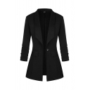 Cool Formal Women's Long Sleeve Shawl Neck Button Detail Plain Slim Fit Blazer