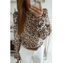 Elegant Pretty Women's Puff Sleeves Crew Neck Polka Dot Printed Stringy Selvedge Relaxed Fit Shirt in Apricot