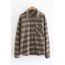 Cozy Women's Long Sleeve Lapel Neck Button Down Pocket Patched Plaid Printed Loose Fit Shirt