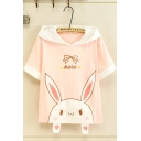 Designer Girls' Short Sleeve Letter RABBIT Bow Tie Rabbit Graphic Contrasted Relaxed Fit Rabbit Ears Hooded T Shirt in White