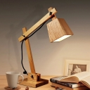 1 Head Study Task Lamp Modern Beige Reading Book Light with Trapezoid Wood Shade