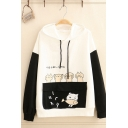 Preppy Girls' Long Sleeve Cat Printed Japanese Letter Drawstring Flap Pockets Color Block Loose Hoodie