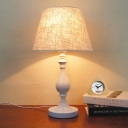 Tapered Drum Nightstand Lamp Contemporary Fabric 1 Bulb Reading Book Light in White