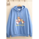 Funny Preppy Girls' Long Sleeve Drawstring Letter SUPER TEAM Bear Graphic Loose Fit Hoodie