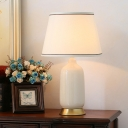 Contemporary 1 Bulb Task Lighting White Tapered Small Desk Lamp with Fabric Shade