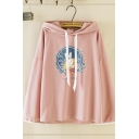 Women's Fashionable Long Sleeve Drawstring Rabbit Patterned Relaxed Fit Rabbit Ears Hoodie