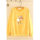 Cute Kawaii Long Sleeve Round Neck Deer Embroidery Pom Pom Loose Fit Pullover Sweatshirt for Girls