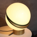 Contemporary 1 Bulb Desk Light Gold Round Night Table Lamp with White Glass Shade