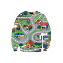 Chic Gray Long Sleeve Crew Neck 3D Game Print Relaxed Fit Pullover Sweatshirt for Boys