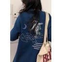 Kpop Girls Short Sleeve Round Neck Astronaut Moon Graphic Oversize Tee