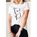 Womens Cute Roll-Up Sleeves Crew Neck Koala Patterned Relaxed Fit T Shirt