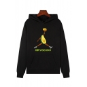 Designer Womens Long Sleeve Letter AIR VOCADO Graphic Pouch Pocket Relaxed Hoodie