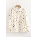 Trendy Girls Long Sleeve Lapel Collar Button Down All Over Smiling Face Prined Relaxed Fit Shirt in White
