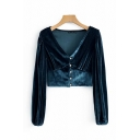 Stylish Chic Ladies Long Sleeve V-Neck Button Down Ruched Velvet Slim Fit Crop Blouse Top in Peacock Blue