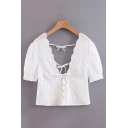 Lovely Girls Short Sleeve V-Neck Button Down Bow Tie Scallop Trim Lace Blouse Top in White