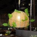 Industrial Dome Plant Hanging Pendant 1 Bulb Hemp Rope LED Suspension Light in Beige for Restaurant