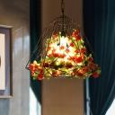 Metal Black Pendant Ceiling Light Caged 1 Bulb Industrial LED Flower Hanging Lamp for Restaurant