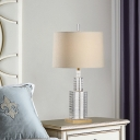1 Head Rectangle Reading Light Modern Hand-Cut Crystal Night Table Lamp in Beige