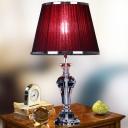 Vase Shape Desk Light Modernist Beveled Crystal 1 Bulb Red Night Table Lamp, 23