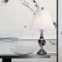 Urn Shape Task Light Modern Hand-Cut Crystal 1 Bulb White Nightstand Lamp, 14