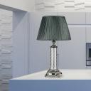 Cylindrical Task Lighting Modern Hand-Cut Crystal 1 Head Small Desk Lamp in Green