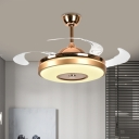 Metal Round Pendant Fan Light Minimalist Dining Room LED Semi Flush Mount Lamp in Gold with 4 Clear Blades, 36