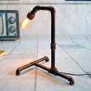 Industrial Piping Task Light 1-Light Metal Night Table Lamp in Rust with Plug-In Cord