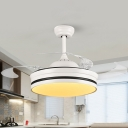 White Ring Hanging Fan Lighting Contemporary Acrylic LED Living Room Semi Flush Light with 4 Clear Blades, 42