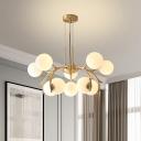 10-Light Bedroom Hanging Light Kit Modernist Brass Pendant Chandelier with Global Opal Glass Shade