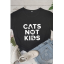 Casual Womens Short Sleeve Crew Neck Letter CATS NOT KIDS Printed Loose Fit T-Shirt