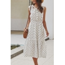 Pretty Ladies Sleeveless Bow Tie Neck Polka Dot Printed Ruffled Maxi A-Line Dress