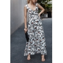 Gorgeous Ladies Sleeveless Surplice Neck Ruffled Trim All-Over Flower Printed High Cut Maxi Flowy Dress in White