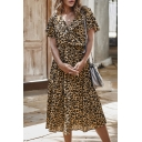 Fancy Ladies Short Sleeve V-Neck Leopard Printed Ruffled Trim Maxi Pleated Dress in Khaki