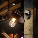 1 Bulb Saucer Wall Light Sconce Antiqued Black Iron Wall Mounted with Cage for Restaurant