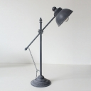 Grey Finish Dome Table Light Antiqued Iron 1 Head Restaurant Desk Lamp with Chain and Switch