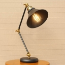 Iron Black/Gold Desk Light Wide Flared 1-Head Vintage Table Lamp with Swing Arm for Bedside