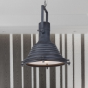 Ribbed Cone Kitchen Drop Pendant Lamp Farmhouse Iron 1-Bulb Black Ceiling Light with Handle