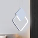 Square Frame Hanging Lamp Simple Nordic Iron White/Black LED Suspended Pendant Light in White/Warm Light