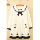 Preppy Looks Long Sleeve Sailor Collar Striped Contrasted Bear Paw Pattern Pocket Panel Ruffled Short Swing Dress for Girls