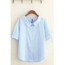Simple Bow Tie Short Sleeves Lapel Collar Button Down Stripe Printed Curved Hem Relaxed Shirt in Blue