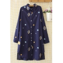 Popular Girls Long Sleeve Lapel Collar Button Down All Over Star Planet Pattern Longline Oversize Shirt