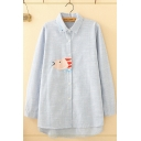 Leisure Simple Ladies Long Sleeve Lapel Neck Button Down Striped Fish Embroidered Long Relaxed Shirt