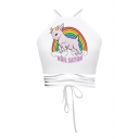 Simple Womens Sleeveless Rainbow Unicorn Wave Alien Printed Lace Up Hollow Out Slim Fit Crop Cami Top