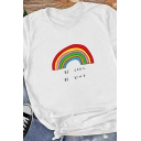 Cute Girls White Roll Up Sleeve Round Neck Letter BE COOL BE KIND Rainbow Slim Fit Graphic Tee